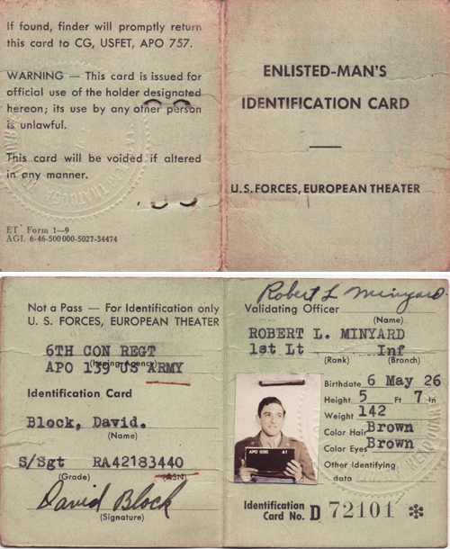 documents military block david identification card lowell and